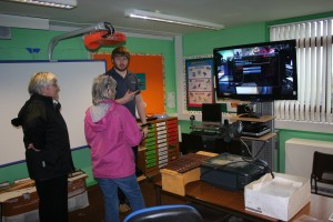 An informal training session today in Drummore Primary School on their new High Definition Video Conference system.