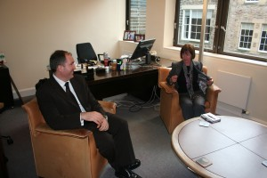 Gary Kildare and Kate Raeside in Gary's office