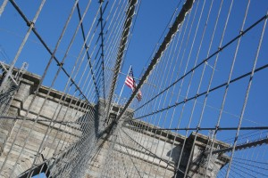 Blue skies at the Brooklyn Bridge