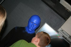 A Blue man meets the fans after the show