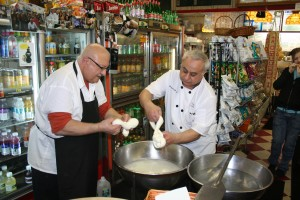 On the Hoboken tour, a demonstration of how to make Mozarella