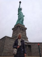 Fiona on Liberty Island at the Statue of Liberty