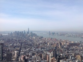 From the top of the Empire State Building looking towards the Freedom Tower and the Statue of Liberty